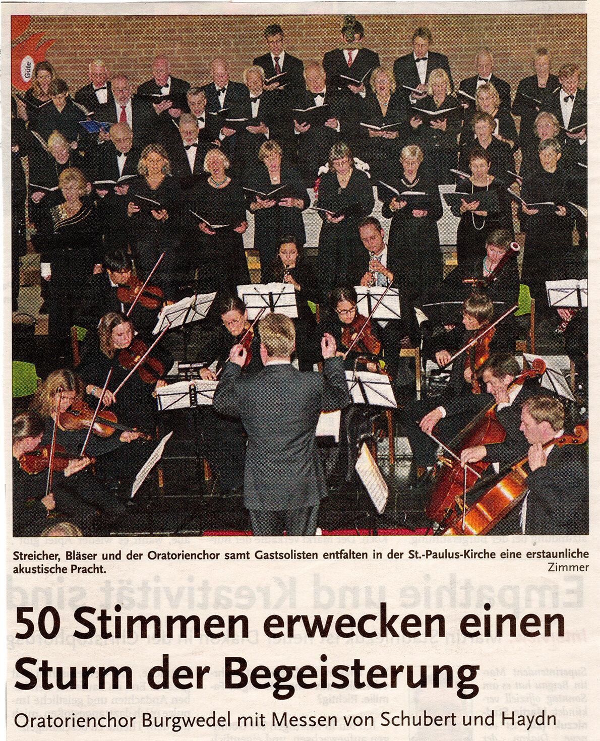 10-2012 HAZ Konzert Schubert und Haydn St. Pauluskirche